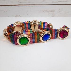 Funky Vintage Plastic Rainbow Gems Chain Belt